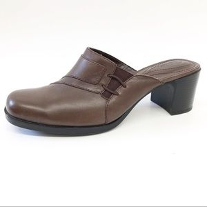 Clarks Womens Size 7M Brown Leather Mules Size 7M